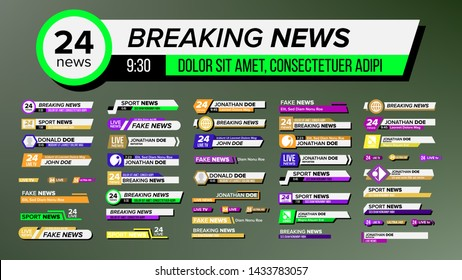 Interface Tv Breaking News Lower Bra Set Vector. Collection Of Colorful Bright Design Lower Show, Sport Or Streaming Video Decoration Banner. Modern Television Flat Cartoon Illustration