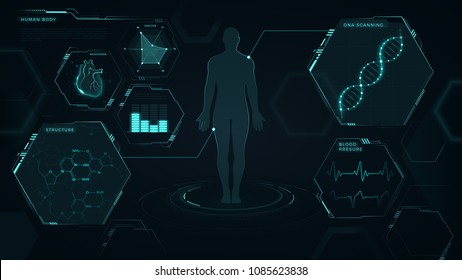 Interface, vector graphic, medical, heart, dna, graphs, human body, futuristic design, blue