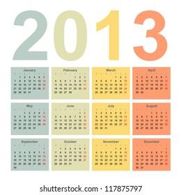 Interior 2013 year vector calendar