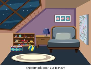 Interior of attic bedroom illustration