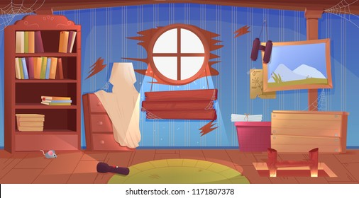 The interior of the attic. An old forgotten room with boxes on the roof. Lamp and pictures and stairs to the top. Vector cartoon illustration