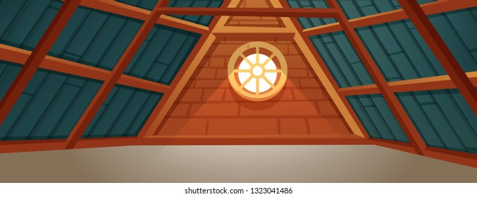 The interior of the attic. An old forgotten room on the wooden roof. Vector cartoon illustration
