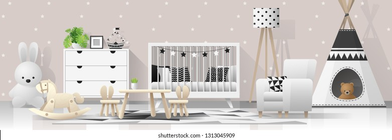 Interior Background Modern Baby Bedroom Vector Stock Vector Royalty Free 1313045909