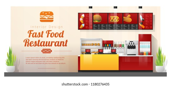 Interior background with modern fast food restaurant counter , vector , illustration