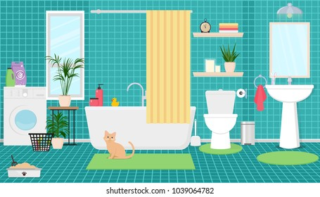 Interior of the bathroom with shower, washing machine, toilet and sink. Vector flat illustration.