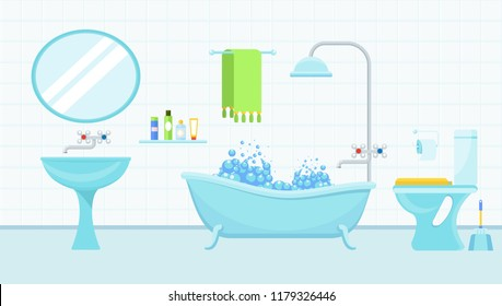 Interior of a bathroom with a toilet and accessories for washing and taking a shower. Flat cartoon illustration. Objects isolated on background.