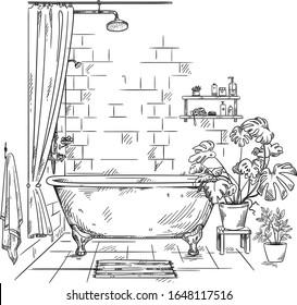 Interior of a bathroom, vector sketch
