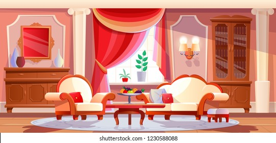 Interior of beautiful, luxurious living room with furniture and items of expensive interior. Furniture in an expensive luxury style, relax in bright cozy lounge room. Illustration in cartoon style.