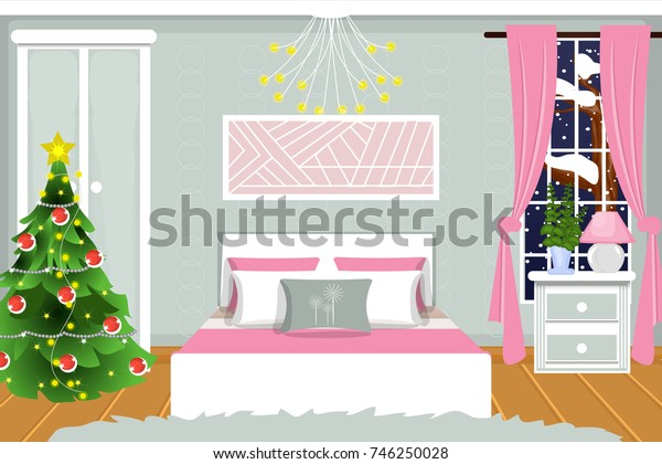 The interior of the bedroom. Christmas night. Vector. Cartoon.