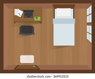 interior bedroom with laptop on the table top view vector