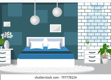 The interior of the bedroom. Modern bedroom interior with furniture. Flat style vector illustration. Cartoon