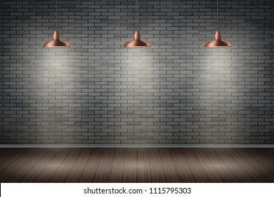 Interior of black brick wall with vintage pendant brass lamps and wooden floor. Vintage Rural room and fashion interior. Background of loft and trendy showroom or cafe. Vector.