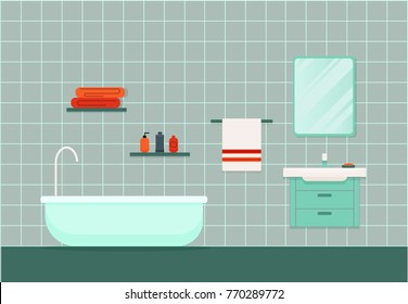Interior of blue bathroom with sink, bathtub, mirror