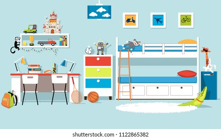 Interior of a boys' bedroom with a bank bed and a desk, flat vector design, EPS 8, no transparencies