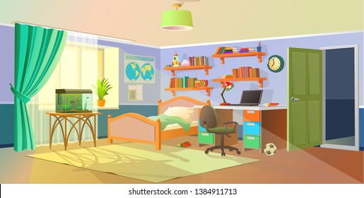 Interior. Boys room with table, computer, bookshelf. Flat cartoon vector illustration.Cozy interior of children's room, furniture, window, aquarium. Teenager room with workplace.
