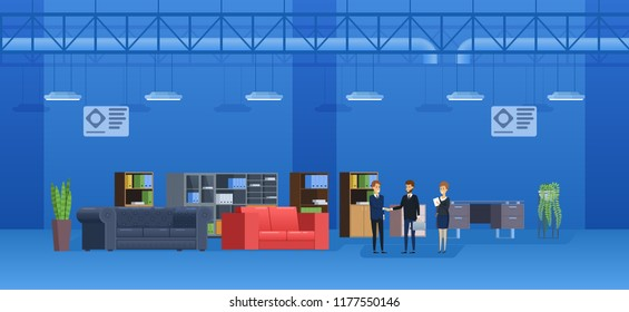 Interior of building supermarket, shop, shopping center. Shop sellers sell case furniture to buyer, leather sofas, office and home chairs, armchairs. Wholesale and retail trade. Vector illustration.