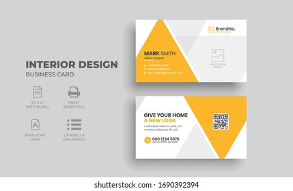 Interior Business Card Template with creative concept