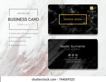Interior business name card design template, Simple style also modern and elegant with marbling texture imitation background, It's fully layered and editable, Easy to customize it to fit your needs.