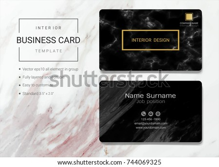 Interior Business Name Card Design Template, Simple Style Also Modern And  Elegant With Marbling Texture
