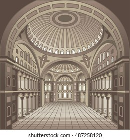 Interior Byzantine cathedral monochrome