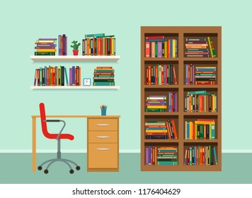 Interior Cabinet With A Bookcase And Shelves Furniture Flat Vector Illustration