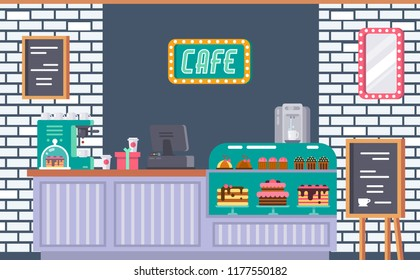 Interior of cafe building facade, coffeeshop, counter, bar counter with coffee machine, cash register, showcase with sweets, board with daily menu, signboards, mirror as decor. Vector illustration.