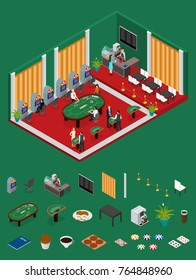 Interior Casino and Parts Isometric View with Furniture and Equipment Design Element. Vector illustration