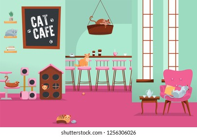Interior cat cafe. Cozy place with many cats in armchairs and houses with set of accessories, Feline stuff. Big room with large windows and white text on blackboard. Flat cartoon vector illustration