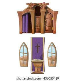 The interior of the Catholic Church. Vector.