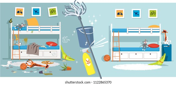 Interior of a children bedroom before and after cleaning divided by cleaning tools, EPS vector illustration