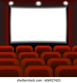 Interior of a cinema movie theater. Empty Cinema auditorium with white screen. Vector illustration.