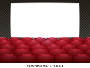 Interior of a cinema movie theatre with white screen. Realistic vector illustration. Copy space.