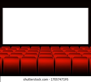 Interior of the cinema with red seats, a large white screen and space for copyscape on the screen. Stock vector illustration.