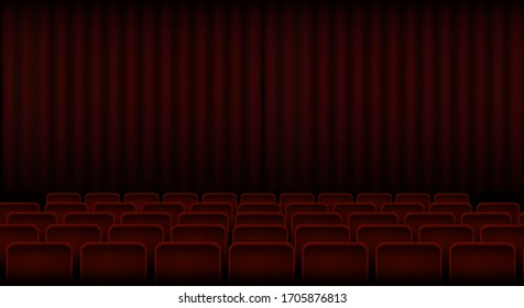 Interior of a cinema or theater with red seats and a curtain. Stock vector illustration.