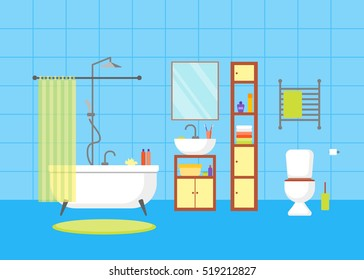Interior Classic Bathroom With Furniture Basic Room Of Home Flat Design Style Vector