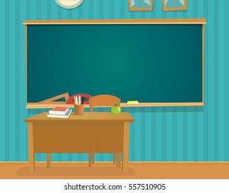 Interior of classroom with desk and blackboard. Vector flat color illustration isolated.