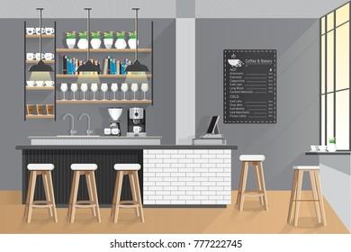 Interior of coffee shop modern loft style. Vector Illustration.