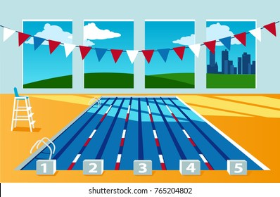 Interior of a competition swimming pool, no people,  city landscape behind the window, EPS 8 vector illustration, no transparencies