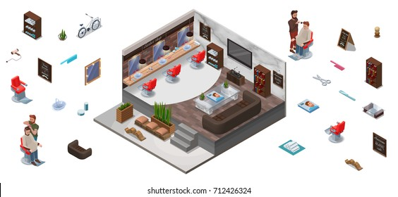 Interior constructor with 3d isometric people, hairdresser cutting hair, shaving at barber shop, characters, set for hipster hair salon, trendy furniture, barbershop accessories, mustache icon