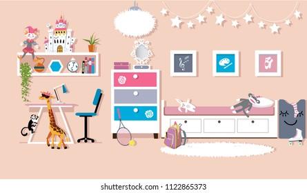 Interior of a cute girl's bedroom, flat vector design, EPS 8, no transparencies