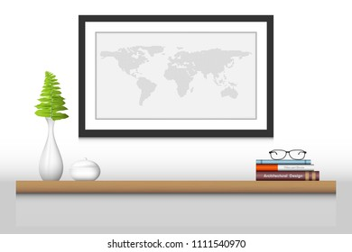 Interior decoration shelf and photo frame., Vector design, Illustration.