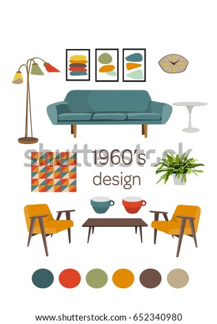 Interior Design 1960 Mid Century Modern Stock Vector Royalty Free