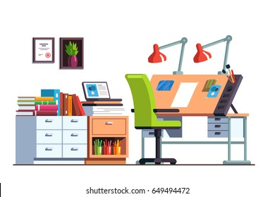 Interior design architect or designer studio with adjustable drawing desk, chair and desk drawers. Workshop or engineer office room decoration and furniture. Flat style vector illustration isolated.