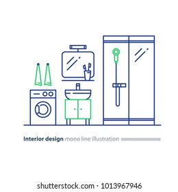 Interior design, bathroom concept, minimalist modern style, mirror with sink, washing machine and shower glass cabin, vector icons, mono line illustration