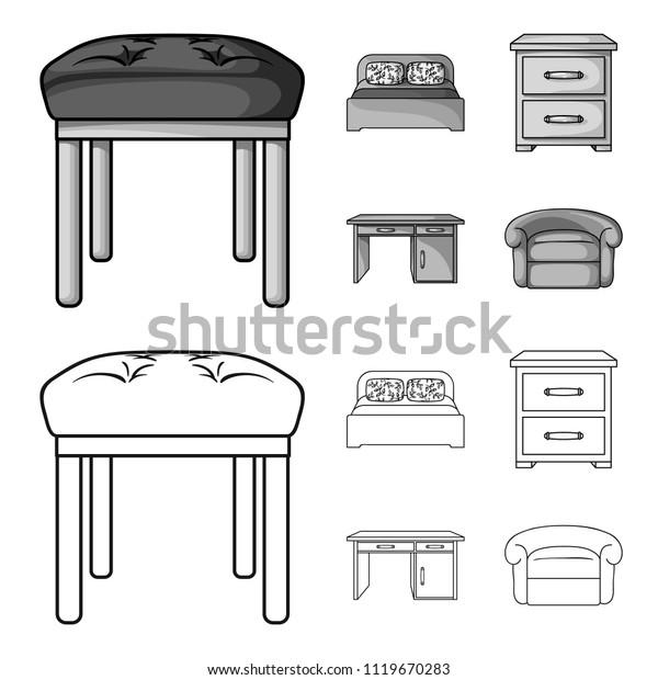 Interior Design Bed Bedroom Furniture Home Stock Vector