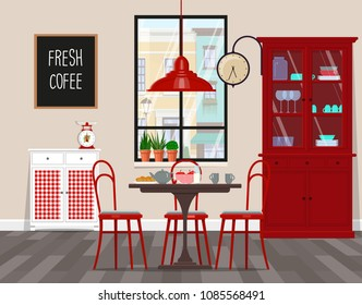 Interior design of cafe, kitchen, dining room in retro style. Vector flat illustration. Isolated vector objects...