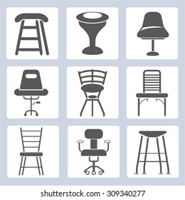interior design,  chair and sofa icons set,