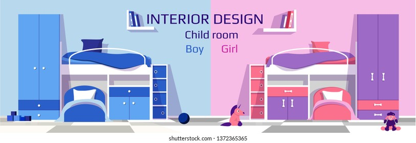 Interior design of child room for baby boy and baby girl. Children bedroom in comparison. Vector template for web site, banner, flyer, poster. Illustration for magazine.
