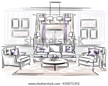 Interior Design Classic Living Room Sofa Stock Vector (Royalty Free ...