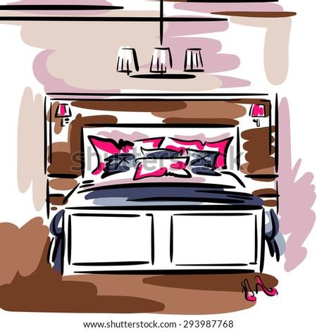 Interior Design Contemporary Bedroom Double Bed Stock Vector ...